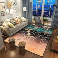 Wholesale gold coffee table resale online - Rose Gold Pink Green Modern Area Rugs Geometric Pattern Carpet Nordic Simple Coffee Table Rug Mat for Living Room Bedroom T200111