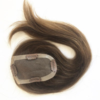Wholesale women toupee resale online - Mono Lace Base Women Toupee Hairpiece Replacement System Brazilian Virgin Hair Light Brown Top Hairpiece With Clip Top Closures For Women