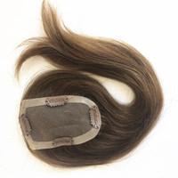 hızlı nakliye boyası toptan satış-Mono Dantel Baz Kadın Peruk Postiş Değiştirme Sistemi Ile Brezilyalı Bakire Saç Açık Kahverengi Üst Postiş Klip Kadınlar Için Üst Kapaklar # 6