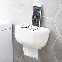 duvara montaj aksesuarları toptan satış-Doku Kutusu Tuvalet Kağıdı Tutucu Duvar Monteli Dayanıklı Banyo Aksesuarları Modern Kare Cilalı Krom Hiçbir Delme