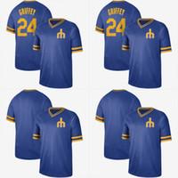 06a8a351d97 New Seattle 24 Ken Griffey Jr. Jersey Cooperstown Retro Collection Mesh  Wordmark V-Neck Mariners Baseball Jerseys