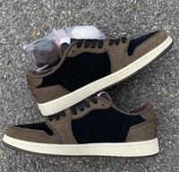 kadınlar için kahverengi süet ayakkabı toptan satış-Travis Scotts X Düşük 1 Cactus Jack Süet Koyu Mocha TS SP Basketbol Ayakkabı Erkek Kadın Brown 1s Spor Spor ayakkabılar