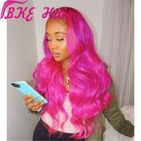natürliche perruque lange haare großhandel-Hitzebeständige Haar rosa rot Farbe Perücke Cosplay Perruque lange natürliche synthetische Lace Front Perücken für Frauen Party vorhanden