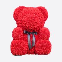 ingrosso orsi rossi di peluche di peluche di natale-Drop Shipping 25 \ 40 \ 70cm Red Teddy Bear Rose Flower Regali di Natale artificiali per le donne Regalo di San Valentino Orso peluche \ Coniglio