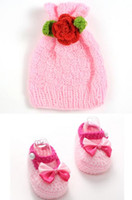 Wholesale crochet hats shoe sets for sale - Group buy Sweet lovely baby girls handmade crochet knitting pink bowknot crib shoes candy hat photography props set cm