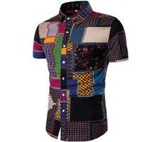 tissu de coton mince achat en gros de-Chemises à manches courtes en coton imprimé lin décontracté pour hommes New Summer hommes / tissu de lin masculin mince motif décontracté Hawaii Tops # 388820