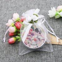 organza drawstring geschenk taschen großhandel-3,9 X 4,7 Zoll schiere Organza Hochzeit zugunsten Geschenktüten White Rose Drawstring Pouches, Packung mit 50