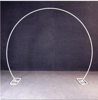 flor redonda artificial al por mayor-oro blanco U / corazón / redonda forma de anillo partido del hierro del metal del arco de la boda se Telón de fondo de la decoración del globo flor artificial soporte estantería