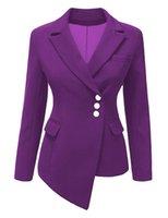 iş için resmi blazerler toptan satış-Pydownlake 2019 İlkbahar Sonbahar Blazer Kadınlar Ince Uzun Kollu Bayanlar Blazers Feminino OL Resmi Çalışma Küçük Takım Elbise Ceket Düğmesi Düzensiz Ceket