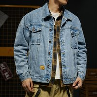 jaqueta jeans leve manga comprida venda por atacado-High Street Moda Masculina Jeans Jacket Light Blue Casual Sólidos Denim Jacket fresco Ligue Brasão de Down Long Sleeve Denim