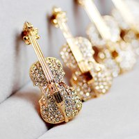 Wholesale gold brooch bling resale online - Wedding Party Favor Personalized Gifts for Guests Violin Brooch Bling Crystal Pins Love Lapel Brooches Rhinestone Brooch