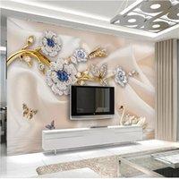 murais wallpaper cisnes venda por atacado-Tamanho personalizado 3d foto papel de parede sala de estar mural europeu cisne jóias flores 3d imagem sofá tv cenário papel de parede mural não-tecido adesivo