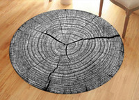 Wholesale red living room chairs online - Grey D Dry Wood Grain Ring Sectiom Round Large Carpet For Living Room Anti Slip Chair Table Rug tapetes para casa sala