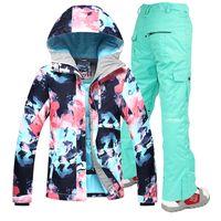Gsou Snow -30 Women skiing suit sets snowboarding clothes waterproof    windproof winter snow outdoor ski jackets + Pants C18112301 218137004