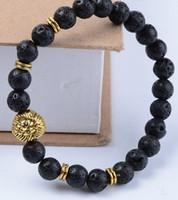ingrosso anello di buddha d'oro-8mm cy35 oro elastico regolato Fascino rame leone natura nero pietra lava vulcanica Bracciale Reiki Chakra Buddha Yoga