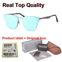 marcas de gafas de sol para las mujeres al por mayor-1pcs al por mayor - la marca de gafas de sol de diseñador mujeres de los hombres de alta calidad del metal de la manera de la lente UV400 marco de los vidrios de gafas con casos libres y cuadro