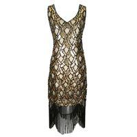 vestidos casuales de inspiración vintage al por mayor-Vintage 20s Art Deco inspirado Flapper Gran Gatsby Fringe vestido con cuello en v sin mangas con cuentas de lentejuelas borla vestido de fiesta Vestidos