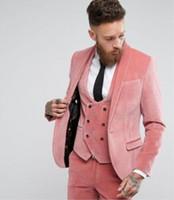 erkekler için pembe smokinler toptan satış-Özel 3 Pics Moda Kış Damat Gelinlik Slim Fit Pembe Kadife erkek Smokin Takım Elbise Ceket + Yelek + pantolon