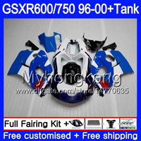 tanques suzuki al por mayor-Cuerpo + tanque para SUZUKI SRAD GSXR 750 600 GSXR600 96 97 98 99 00 291HM.21 GSXR-600 Stock azul caliente GSXR750 1996 1997 1998 1999 2000 Carenados
