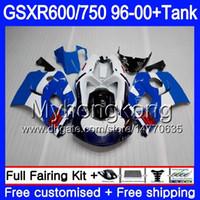 96 srad verkleidungen großhandel-Gehäuse + Tank Für SUZUKI SRAD GSXR 750 600 GSXR600 96 97 98 99 00 291HM.21 GSXR-600 Serienmäßig blau heiß GSXR750 1996 1997 1998 1999 2000 Verkleidungen