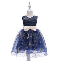 robe d'enfant tutu achat en gros de-Robe de bal des enfants fille princesse robe étoiles Lunes Tutu autour du cou robe de bal robe de fête d'anniversaire robe