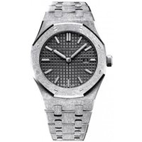 Wholesale fix watches resale online - 5 colors Diamonds automatic Royal Frosted Black Dial Oak mens k White Gold Watch Silver tone hands Fixed bezel mm size glide smooth wris