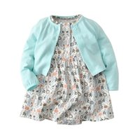 Wholesale oxford style jackets resale online - Autumn Toddler Baby Girls Rompers with Coat pieces Set Floral Cartoon Polka Dot Jumpsuits Dresses Fall Cotton Long Sleeve Coat Clothing Set