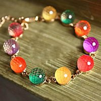 Wholesale candy beads jewelry resale online - B088 mix color New Women Jewelry Fashion Candy Color Diy Bracelet Sweet Love Crystal Beads Bracelets Bangles