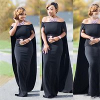 Wholesale bridesmaids winter capes resale online - Middle East Plus Size Bridesmaid Dresses with Cape Off The Shoulder Black Satin Long Maid of Honor Dress Mermaid African Wedding Party Gowns