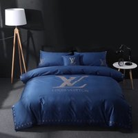 Wholesale family suits resale online - Navy Bedding Suit Newest All Cotton Embroidery Print Adult Bedding Sets Spring Summer Family Hotel Letter Bedding Suit