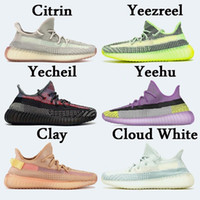 Wholesale summer sports shoes men resale online - 2020 Stock X V2 Yecheil Yeehu Glow Running Shoes Citrin Cloud White Black Reflective Trainers Kanye West Designer Sneakers sport shoes