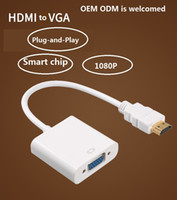 Wholesale hd vga adapter resale online - factory directly CE OEM ODM HDMI to VGA Adapter Converter with Audio manufacturer HDMI Cable Support Full HD P HDCP DHTV