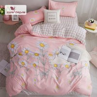 Wholesale purple flower bedding sets resale online - SlowDream Bedding Set Sun Flowers Bedspread Pink Home Textiles Decor Bedclothes Adult Children Duvet Cover Double Flat Sheets