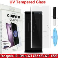 tutkal xperia toptan satış-UV Lambası NANO Sıvı Tutkal Temperli Cam 3D Kavisli Telefon Ekran Koruyucu Sony Xperia 10 Için xperia10 artı XZ1 XZ2 XZ3 XZ Premium XZ2 Premiu