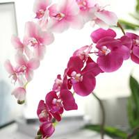 fleurs pourpres achat en gros de-Artificielle Orchidée Fleurs Jaune Rose Pourpre Phalaenopsis Pour Mariage Décor À La Maison Orchid bonsaï Phalaenopsis Orchidée Home Office Decor