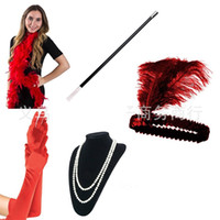 Wholesale costume feathers for sale - Bachelor Party Costume Accessory Great Gatsby Party Feather Tobacco Pole Head Necklace Glove Suit Dance Performance Props ld A1