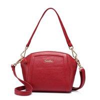 sac à bandoulière en fourrure rouge achat en gros de-REALER marque femme sac à main sac en cuir véritable femme petite épaule messenger sacs mode sac à bandoulière violet / gris / rouge / noir