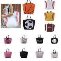 Wholesale tote bags for eco resale online - Canvas Bag Baseball Tote Sports Bags For Softball Football Soccer Basketball Tote Storage Shoulder Bags Organizer HH B04