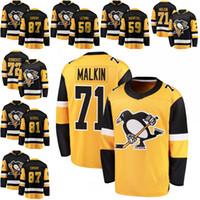 maillot de practica de hockey negro al por mayor-87 Sidney Crosby Pittsburgh Penguins Fanatics Black Breakaway 81 Phil Kessel 71 Evgeni Malkin 58 Practica Kris 59 Jake Guentze Jersey