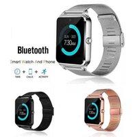 kablosuz fitness saati toptan satış-Paketi ile Android IOS için Akıllı İzle Z60 Smartwatches Paslanmaz Çelik Kablosuz Akıllı Saatler Destek TF SIM Kart