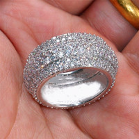 anéis de noivado de safira para mulheres venda por atacado-Luxo 10kt Ouro Branco Cheio 360pcs presente da jóia dos homens anel de Birthstone diamante branco Sapphire Mulheres Wedding Engagement banda anel