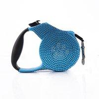 köpek tasması mavi toptan satış-Mavi Pembe Elmas taklidi Köpek Leash Çekilebilir Küçük katlanması Uzatılabilir Eğitim 3M Mavi Taş Hayvan Yavru Moda köpek tasma Kurşun Breed