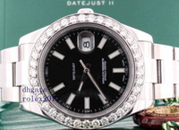 diamond bezel mens lüks saat toptan satış-Erkek Lüks Ürünler Kalite Klasik Datejust II 41 MM Mens Watch 116300 Elmas Çerçeve Versiyonu Hareketi Otomatik 28800bph İzle