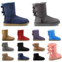Wholesale half rubber shoes resale online - Classic australia designer women fur ankle boots triple black grey navy pink blue fashion luxury snow boot woman winter shoes size