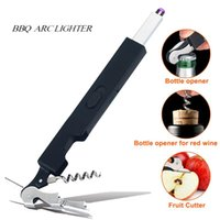 Wholesale opener electric resale online - Arc Candle Lighter Electric Rechargeable In Cigarette Lighters with Beer Red wine Bottle Opener and Fruit Cutter Multifunctional