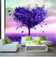 Wholesale purple wallpaper for living room resale online - Custom Size D Photo Wallpaper Living Room Bed Room Mural Purple Tree D Picture Backdrop Mural Home Decor Creative Hotel Study Wallpaper D