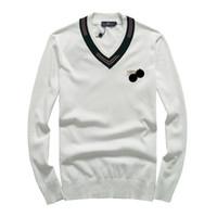 v pullovers achat en gros de-New Man hiver Gentleman Broderie Pull en maille Bees Pull asiatique Taille de haute qualité plug Taille Drake Mode Plus M-2XL