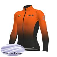 camisas de manga larga térmica al por mayor-2019 de invierno del equipo de polar ALE ciclismo Jersey de los hombres de manga larga Camisa de MTB de la bicicleta caliente Traje deportivo Bike la ropa al aire libre A301254