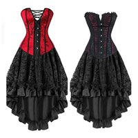 6a04167703f Fashion Sexy Corsets Dresses Plus Size Costume Overbust Burlesque Red Corset  And Skirt Lingerie Set Tutu Corselet Gotico