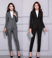 bayanlar resmi giyim takımları toptan satış-2 Parça Blazer Pantolon Set Kadın Ofis Bayan Pantolon Takım Elbise Iş Iş Elbisesi Ceket Pantolon Zarif Kış Resmi Giyim 2019